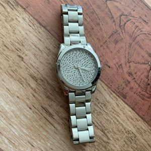 Fossil Stainless Steel with Crystal Pave Dial